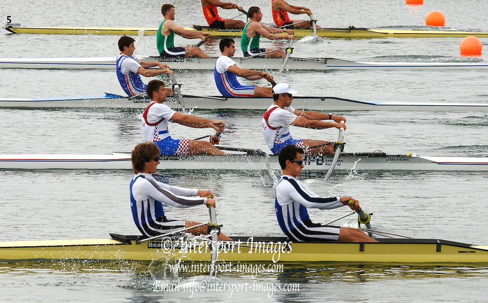 2005 FISA World Cup, Dorney Lake, Eton, ENGLAND, 26.05.05.  Men's pairs start GRE M2- , CRO M2- SCG M2-. Photo  Peter Spurrier. .email images@intersport-images[Mandatory Credit Peter Spurrier/ Intersport Images] , Rowing Courses, Dorney Lake, Eton. ENGLAND
