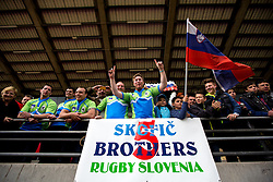 Fans of brothers Skofic during rugby match between National team of Slovenia (green) and Bulgaria (white) at EUROPEAN NATIONS CUP 2012-2014 of C group 2nd division, on April 12, 2014, at ZAK Stadium, Ljubljana, Slovenia. (Photo by Matic Klansek Velej / Sportida.com)