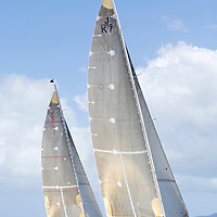 The two J Class yachts Ranger and Valsheda race side by side at Antigua Classic Yacht Regatta. This race  is one of the worlds most prestigious traditional yacht races.