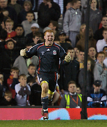 Manchester, England - Thursday, April 26, 2007: Liverpool's goalkeeper David Roberts celebrates after beating Manchester United on penalties to win the FA Youth Cup for the second successive year during the FA Youth Cup Final 2nd Leg at Old Trafford. (Pic by David Rawcliffe/Propaganda)