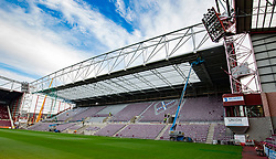 Hearts new stand taking shape at Tynecastle Park this morning.