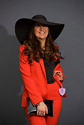 LIVERPOOL, ENGLAND - Thursday, April 6, 2017: Rachel Hopkins, 22 from Ormskirk wearing a red suit from Top Shop and hat rom Zara, during The Opening Day on Day One of the Aintree Grand National Festival 2017 at Aintree Racecourse. (Pic by David Rawcliffe/Propaganda)