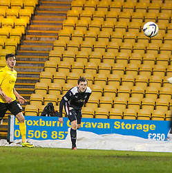Falkirk's Blair Alston scoring their goal.<br /> Livingston 0 v 1 Falkirk, Scottish Championship played13/12/2014 at The Energy Assets Arena.