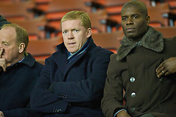 LIVERPOOL, ENGLAND - Thursday, February 5, 2009: Former Liverpool player Steve Staunton watches the Liverpool youth team take on Chelsea during the FA Youth Cup 5th Round match at Anfield. (Mandatory credit: David Rawcliffe/Propaganda)