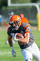 KELOWNA, BC - AUGUST 3:  Max Burke #17 of Okanagan Sun runs with the ball against the Kamloops Broncos at the Apple Bowl on August 3, 2019 in Kelowna, Canada. (Photo by Marissa Baecker/Shoot the Breeze)