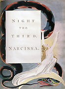 Illustration by William Blake (1757-1827) English poet, painter and printmaker, for  Edward Young's (1681-1765) poem  Night Thoughts published 1742-1745. Night the Third, Narcissa. Dedicated to Margaret Bentinck.