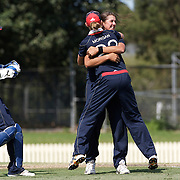 Jenny Gunn is congratulated by team mate Betty Morgan after dismissing Suzie Bates during the match between England and New Zealand in the Super 6 stage of the ICC Women's World Cup Cricket tournament at Bankstown Oval, Sydney, Australia on March 14 2009, England won the match by 31 runs. Photo Tim Clayton