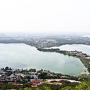 Vista aerea del lago di Annone..Aerial view of Annone lake