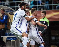 September 2, 2017 - Tampere, Finland - The Finnish team celebrates after the first goal from Alexander Ring during the FIFA World Cup 2018 Group I football qualification match between Finland and Iceland in Tampere, Finland, on September 2, 2017. (Credit Image: © Antti Yrjonen/NurPhoto via ZUMA Press)