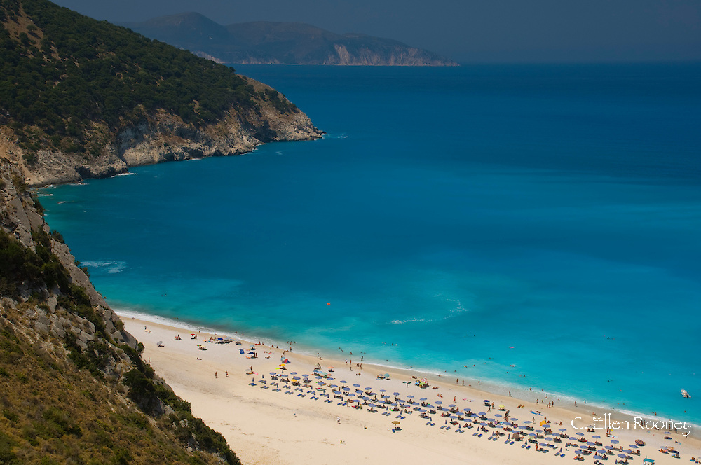 An aerial view of Myrtos Beach, Kefalonia, The Ionian Islands, Greece