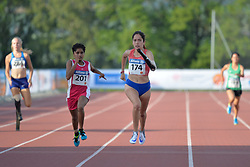 03/08/2017; Heims, Jessica, T44, USA, Behera, Jayanti, T47, IND, Cerna, Amanda, CHI at 2017 World Para Athletics Junior Championships, Nottwil, Switzerland