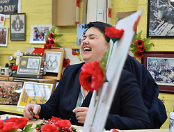 Scottish Conservatives leader Ruth Davidson toured the Poppy Scotland factory in Edinburgh as it was announced there would be £2.2 million GBP funding to refurbish the facility in the Chancellor's budget this week.<br /> <br /> © Dave Johnston/ EEm