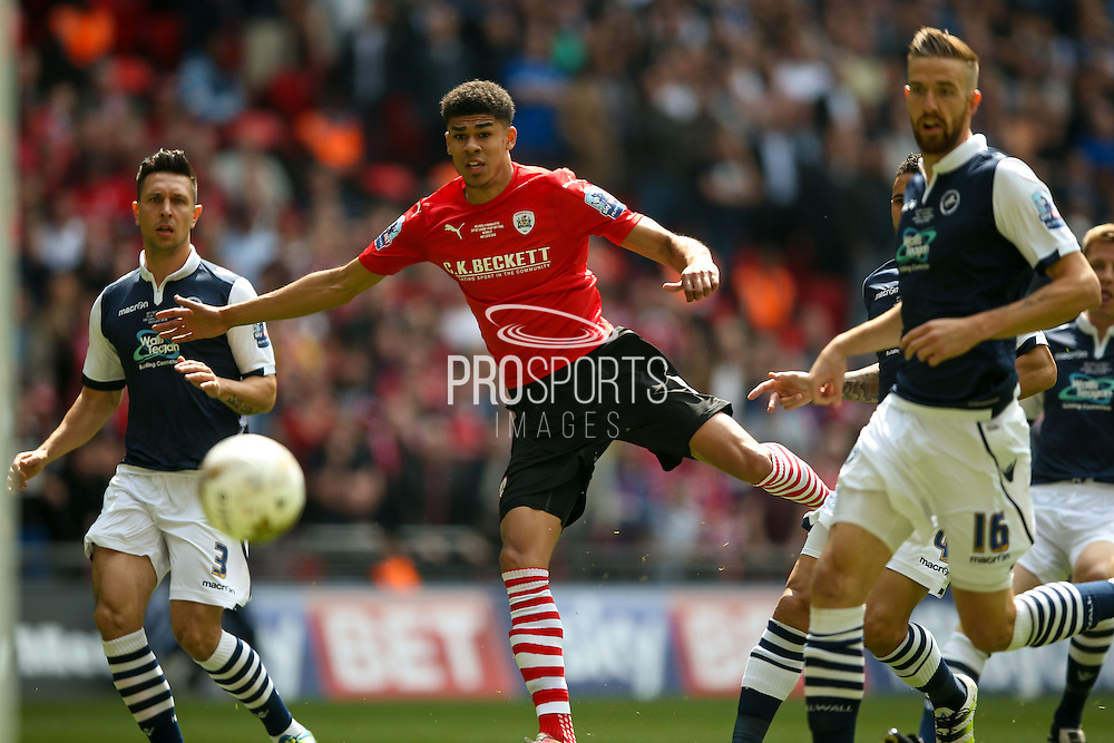 Barnsley forward, on loan from Manchester United, Ashley Fletcher (18) gets free to score a goal  to make the score 1-0 during the Sky Bet League 1 play off final match between Barnsley and Millwall at Wembley Stadium, London, England on 29 May 2016. Photo by Simon Davies.