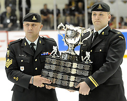 The Memorial Cup after the championship game of the 2010 MasterCard Memorial Cup in Brandon, MB on Sunday May 23. Photo by Aaron Bell/CHL Images
