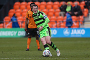 Forest Green Rovers Lee Collins(5) passes the ball forward during the EFL Sky Bet League 2 match between Barnet and Forest Green Rovers at The Hive Stadium, London, England on 7 April 2018. Picture by Shane Healey.