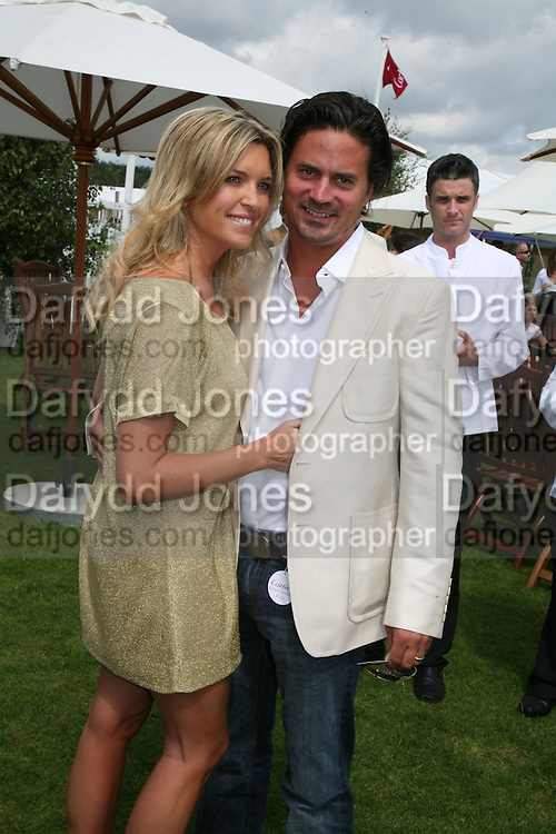Tina Hobley and Oliver Wheeler, Cartier International Polo. Guards Polo Club. Windsor Great Park. 29 July 2007.  -DO NOT ARCHIVE-© Copyright Photograph by Dafydd Jones. 248 Clapham Rd. London SW9 0PZ. Tel 0207 820 0771. www.dafjones.com.
