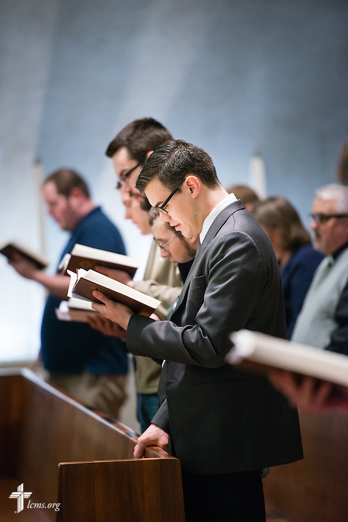 Seminarian Jacob Benson sings during worship at Kramer Chapel at Concordia Theological Seminary, Fort Wayne, Ind., on Wednesday, April 1, 2015. LCMS Communications/Erik M. Lunsford