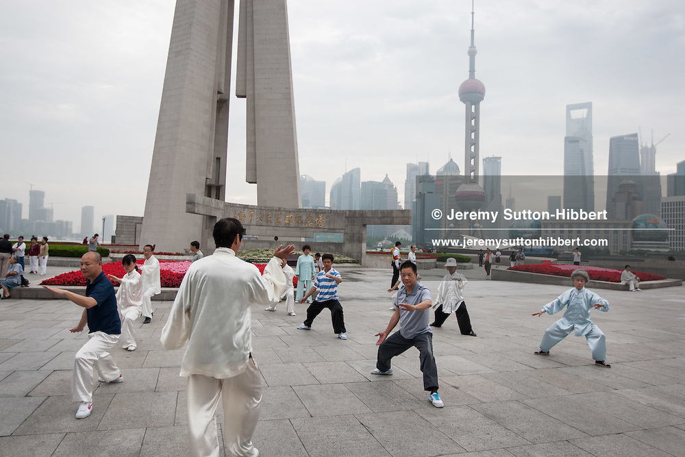 Early morning tai chi exercise on the Bund in Shanghai, China, Wednesday 6th June 2012.
