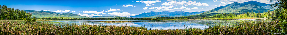 Pondicherry Wildlife Refuge panoramic.  Unique perspective of the refuge showing the Presidential Range, Pliny Range, and Cherry Mountain, and Cherry Pond.  This panoramic measures 8 feet long.  Contact me for further details about prints, commercial, or web use.<br />