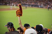 43,056 fans cheer during the final rain-soaked innings of the NLCS Game 7 between the San Francisco Giants and the St. Louis Cardinals on Oct. 22, 2012 in San Francisco, Calif.  The Giants would go on to win, 9-0, making their second World Series appearance in 3 years.  Photo by Stan Olszewski/SOSKIphoto.