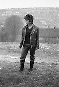 Kelly in a field, UK, 1980s.