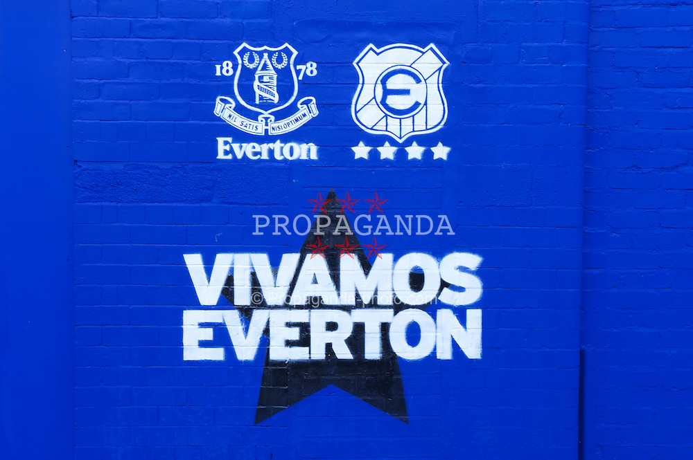 LIVERPOOL, ENGLAND - Wednesday, August 4, 2010: Everton marketing banner outside Goodison Park ahead of the preseason match against Chile's Everton de Vina del Mar. (Pic by: David Rawcliffe/Propaganda)