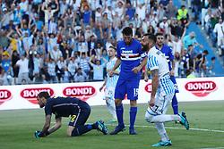 """Foto /Filippo Rubin<br /> 20/05/2018 Ferrara (Italia)<br /> Sport Calcio<br /> Spal - Sampdoria - Campionato di calcio Serie A 2017/2018 - Stadio """"Paolo Mazza""""<br /> Nella foto: GOAL SPAL MIRCO ANTENUCCI (SPAL)<br /> <br /> Photo /Filippo Rubin<br /> May 20, 2018 Ferrara (Italy)<br /> Sport Soccer<br /> Spal vs Sampdoria - Italian Football Championship League A 2017/2018 - """"Paolo Mazza"""" Stadium <br /> In the pic: GOAL SPAL MIRCO ANTENUCCI (SPAL)"""