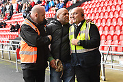 Scunthorpe fan removed from pitch during the EFL Sky Bet League 1 match between Doncaster Rovers and Scunthorpe United at the Keepmoat Stadium, Doncaster, England on 17 September 2017. Photo by Ian Lyall.