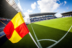 The corner flag in sunlight at The Falkirk Stadium, with the new pitch work for the Scottish Championship game v Morton. The woven GreenFields MX synthetic turf and the surface has been specifically designed for football with 50mm tufts compared with the longer 65mm which has been used for mixed football and rugby uses.  It is fully FFA two star compliant and conforms to rules laid out by the SPL and SFL.<br /> &copy;Michael Schofield.