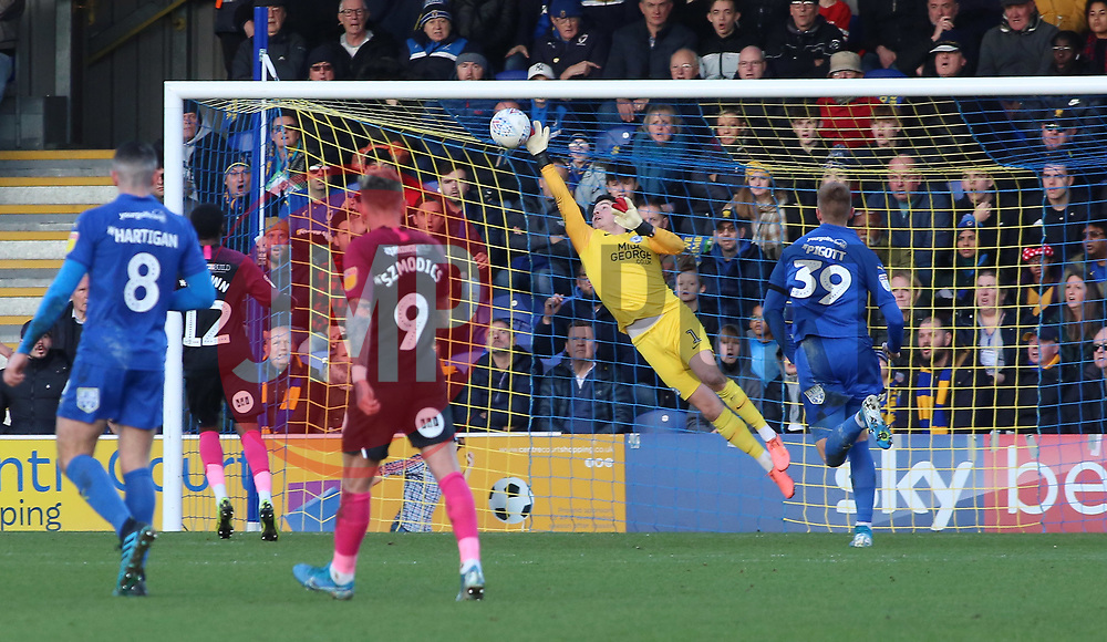 Christy Pym of Peterborough United makes a diving save against AFC Wimbledon - Mandatory by-line: Joe Dent/JMP - 18/01/2020 - FOOTBALL - Cherry Red Records Stadium - Kingston upon Thames, England - AFC Wimbledon v Peterborough United - Sky Bet League One