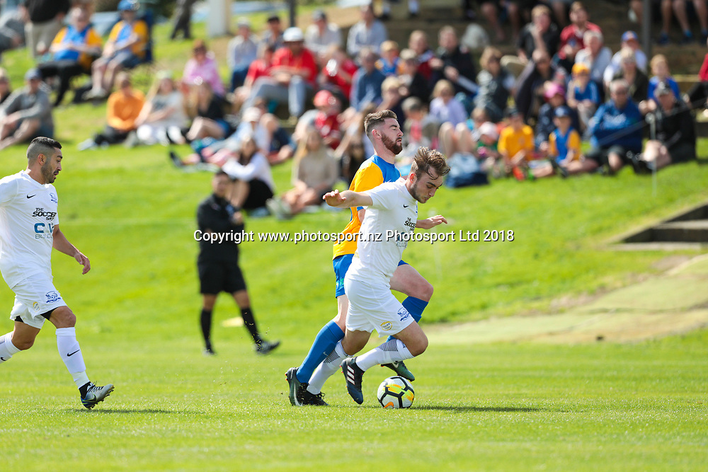 Southern United's Conor O'Keefe runs into trouble during the Southern United vs Hamilton, ISPS Handa Premiership football match held at Sunnyvale Park, Dunedin, New Zealand. 10 March 2018. Copyright Image: Derek Morrison / www.photosport.nz