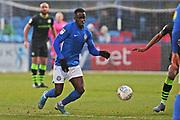 Arthur Gnahoua in action during the EFL Sky Bet League 2 match between Macclesfield Town and Forest Green Rovers at Moss Rose, Macclesfield, United Kingdom on 25 January 2020.