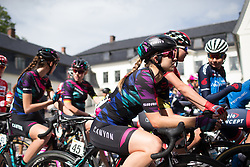 Alexis Ryan (USA) of CANYON//SRAM Racing waits for the start of Stage 2 of the Ladies Tour of Norway - a 140.4 km road race, between Sarpsborg and Fredrikstad on August 19, 2017, in Ostfold, Norway. (Photo by Balint Hamvas/Velofocus.com)