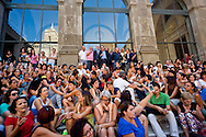 Rome, Italy. 1th September 2015<br /> Assembly of educators and teachers of kindergarten on the staircase of Vignola in the Capitol to protest the dismissals decided by Roma Capitale, of 5000 workers with precarious contracts.The Deputy Mayor of Rome, Marco Causi (with microphone) and the commissioner for school, Marco Rossi Doria,(behind), speakers at the assembly.