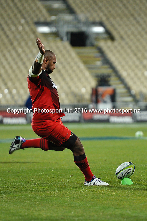 Nemani Nadolo of the Crusaders kicks a conversion during the Super Rugby Match, Crusaders V Rebels, AMI Stadium, Christchurch, New Zealand. 9th July 2016. Copyright Photo: John Davidson / www.photosport.nz