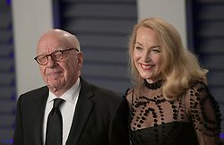 February 24, 2019 - Beverly Hills, California, U.S - Rupert Murdoch and Jerry Hall on the red carpet of the 2019 Vanity Fair Oscar Party held at the Wallis Annenberg Center in Beverly Hills, California on Sunday February 24, 2019. JAVIER ROJAS/PI (Credit Image: © Prensa Internacional via ZUMA Wire)