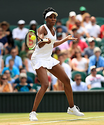 Venus Williams in action against Ana Konjuh on day seven of the Wimbledon Championships at The All England Lawn Tennis and Croquet Club, Wimbledon.