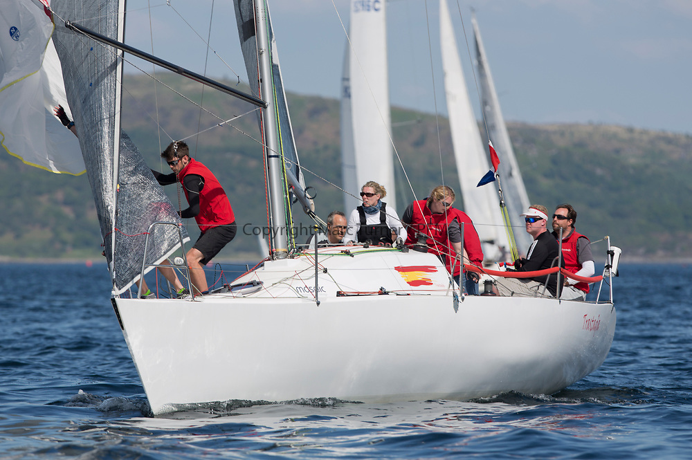 Silvers Marine Scottish Series 2017<br /> Tarbert Loch Fyne - Sailing<br /> <br /> GBR6521, Trastada, Roddy Angus/D Challis, FYC, Half Tonner