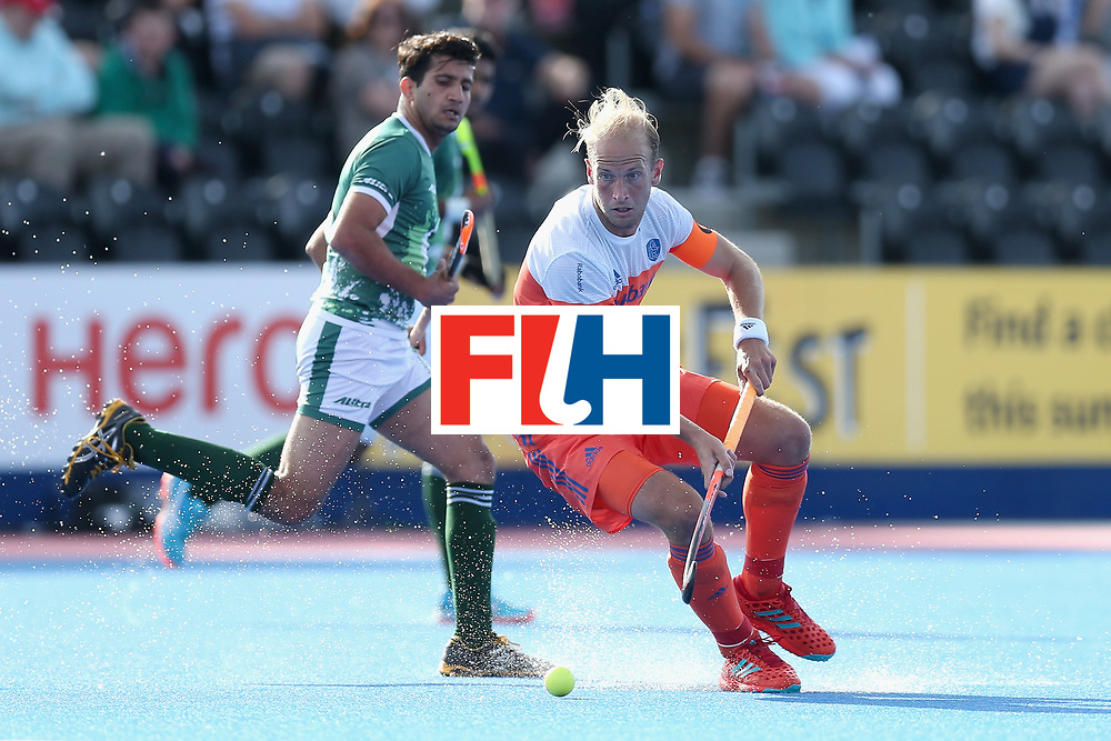 LONDON, ENGLAND - JUNE 15:  Billy Bakker of the Netherlands in action during the Hero Hockey World League Semi Final match between India and Scotland at Lee Valley Hockey and Tennis Centre on June 15, 2017 in London, England.  (Photo by Alex Morton/Getty Images)