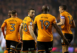 Diogo Jota of Wolverhampton Wanderers celebrates with teammates after scoring a goal to make it 1-0 - Mandatory by-line: Robbie Stephenson/JMP - 11/04/2018 - FOOTBALL - Molineux - Wolverhampton, England - Wolverhampton Wanderers v Derby County - Sky Bet Championship