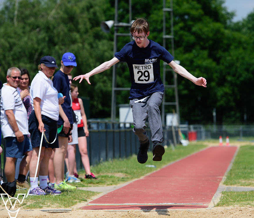 Metro Blind Sport's 2017 Athletics Open held at Mile End Stadium.  Long jump.  Steven Magee<br /> <br /> Picture: Chris Vaughan Photography for Metro Blind Sport<br /> Date: June 17, 2017