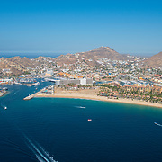 Aerial view of the Marina in Cabo San Lucas.