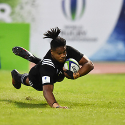Leicester Faingaanuku of New Zealand scores a try during the U20 World Championship match between New Zeland and Japan on May 30, 2018 in Narbonne, France. (Photo by Alexandre Dimou/Icon Sport)