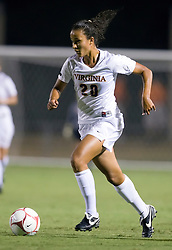 Virginia Cavaliers midfielder/forward Kika Toulouse (20) in action against Loyola.  The #6 Virginia Cavaliers defeated the Loyola College Greyhounds 4-0 in a NCAA Women's Soccer game held at Klockner Stadium on the Grounds of the University of Virginia in Charlottesville, VA on August 22, 2008.