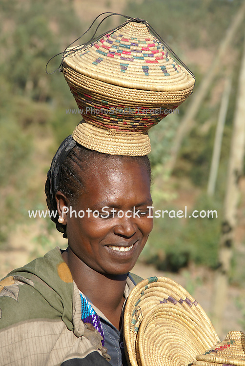 Africa, Ethiopia, Gondar, Wolleka village, Portrait of a Falasha Mura Woman member of the Beta Israel (the Jewish community) community
