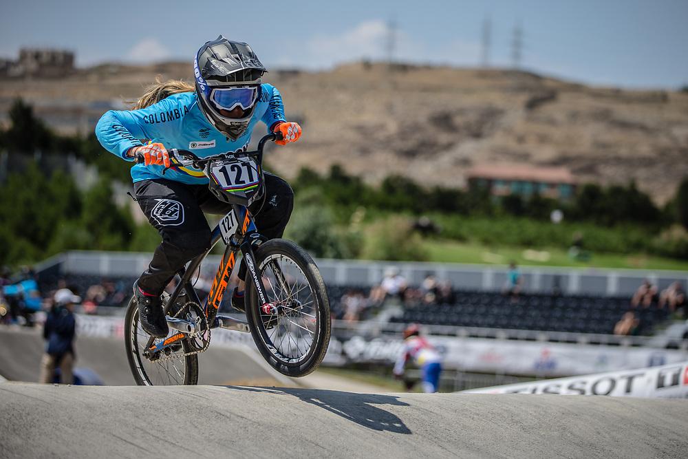 Women Elite #127 (ESCOBAR YEPES Andrea) COL at the 2018 UCI BMX World Championships in Baku, Azerbaijan.