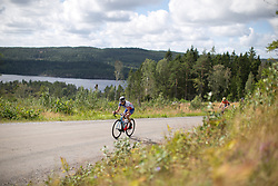 Shara Gillow (AUS) of FDJ Nouvelle Aquitaine Futuroscope Team leads the charge on the second categorised climb of Stage 3 of the Ladies Tour of Norway - a 156.6 km road race, between Svinesund (SE) and Halden on August 20, 2017, in Ostfold, Norway. (Photo by Balint Hamvas/Velofocus.com)