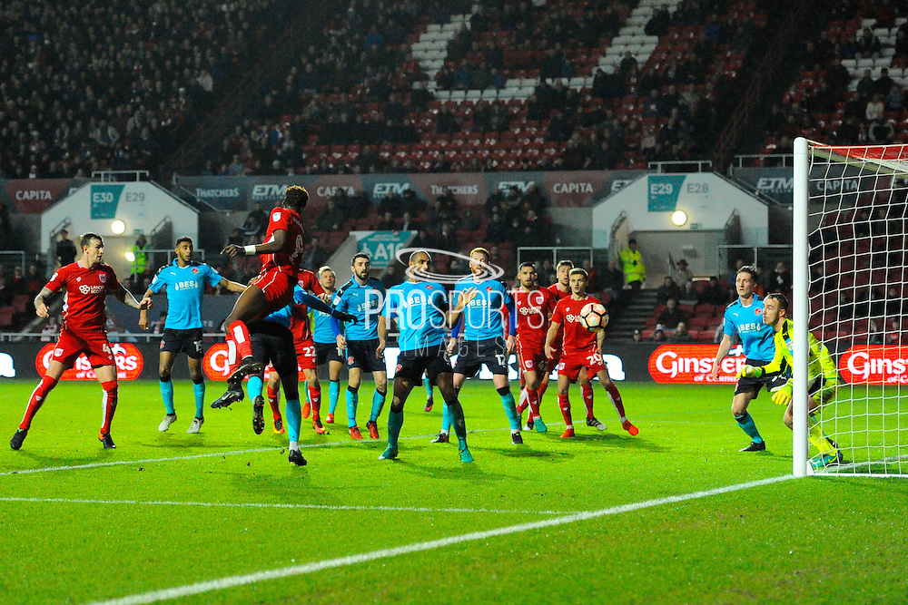 Tammy Abraham (9) of Bristol City goes close to scoring with a headed shot at goal during the The FA Cup match between Bristol City and Fleetwood Town at Ashton Gate, Bristol, England on 7 January 2017. Photo by Graham Hunt.