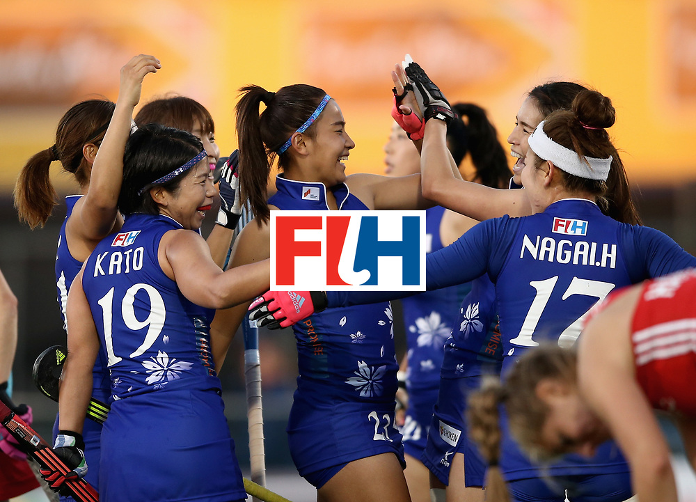 JOHANNESBURG, SOUTH AFRICA - JULY 12:  Japan players celebrate after day 3 of the FIH Hockey World League Semi Finals Pool A match between Japan and England at Wits University on July 12, 2017 in Johannesburg, South Africa.  (Photo by Jan Kruger/Getty Images for FIH)