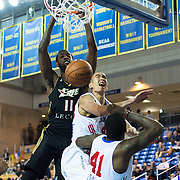 Erie BayHawks Forward CJ Leslie (11) dunks over Delaware 87ers Center Ben Strong (44) in the first half of a NBA D-league regular season basketball game between Delaware 87ers (76ers) and the Erie BayHawks (Knicks) Friday, Jan. 3, 2014 at The Bob Carpenter Sports Convocation Center, Newark, DE